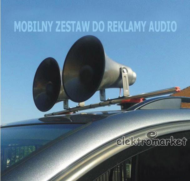 nagłośnienie reklamowe na samochód 2 megafony