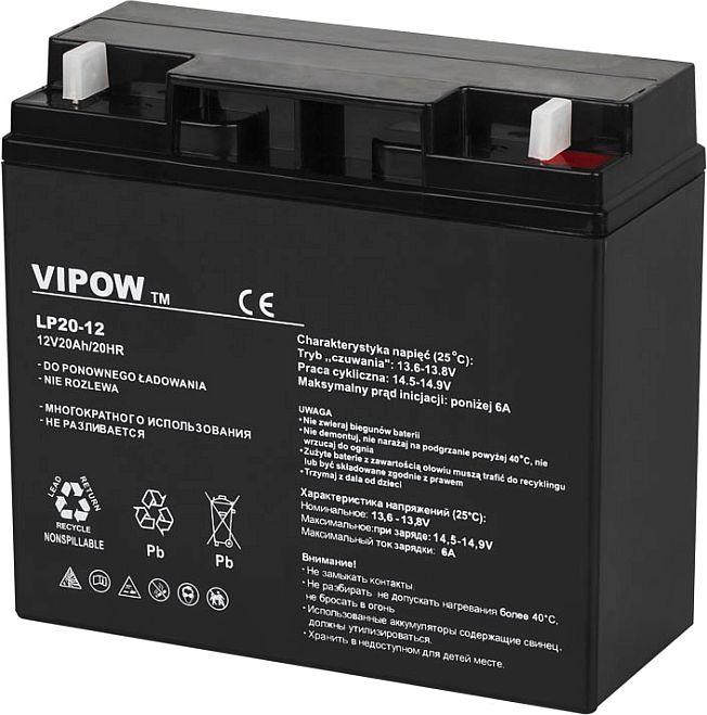 akumulator żelowy Vipow 12V 20 Ah BAT0218 terminale