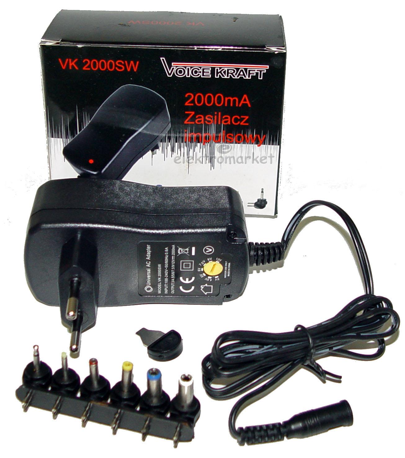 zasilacz impulsowy uniwersalny Voice Kraft VK-2000