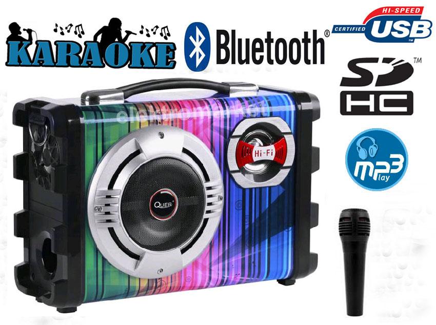 nagłośnienie KOM0836 zestaw głośnikowy Quer z MP3, Bluetooth, radio FM i Karaoke