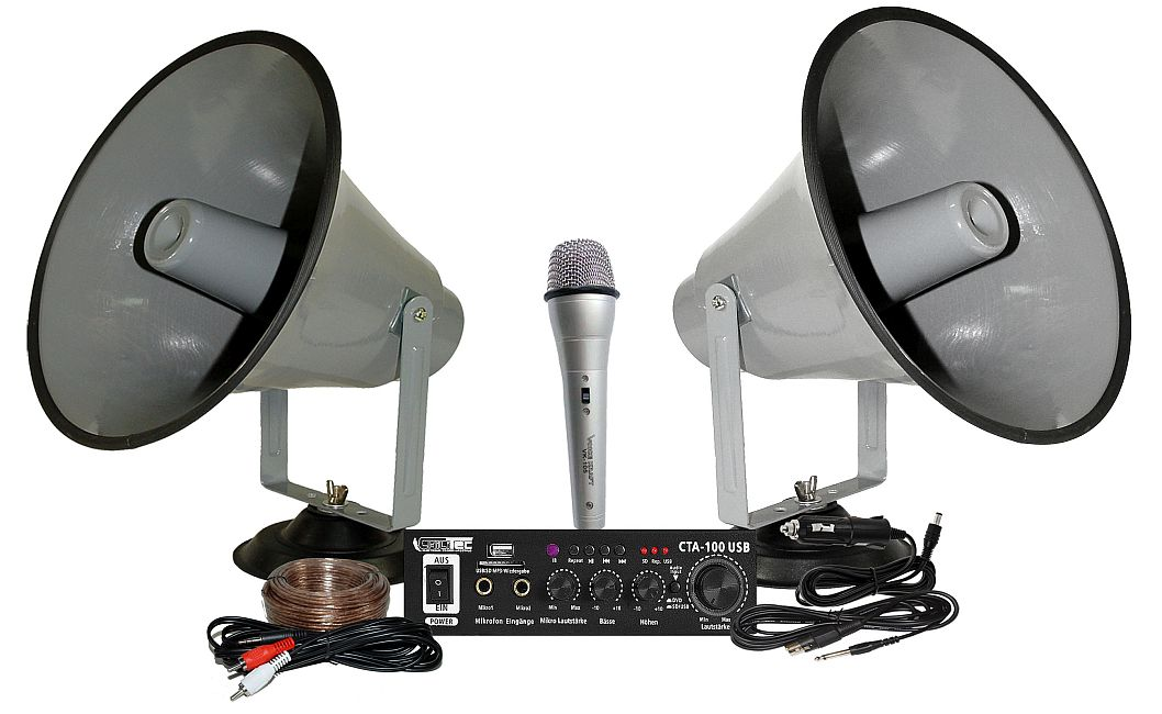 Nagłośnienie na samochód reklamowy z dwoma megafonami CTA-100USB