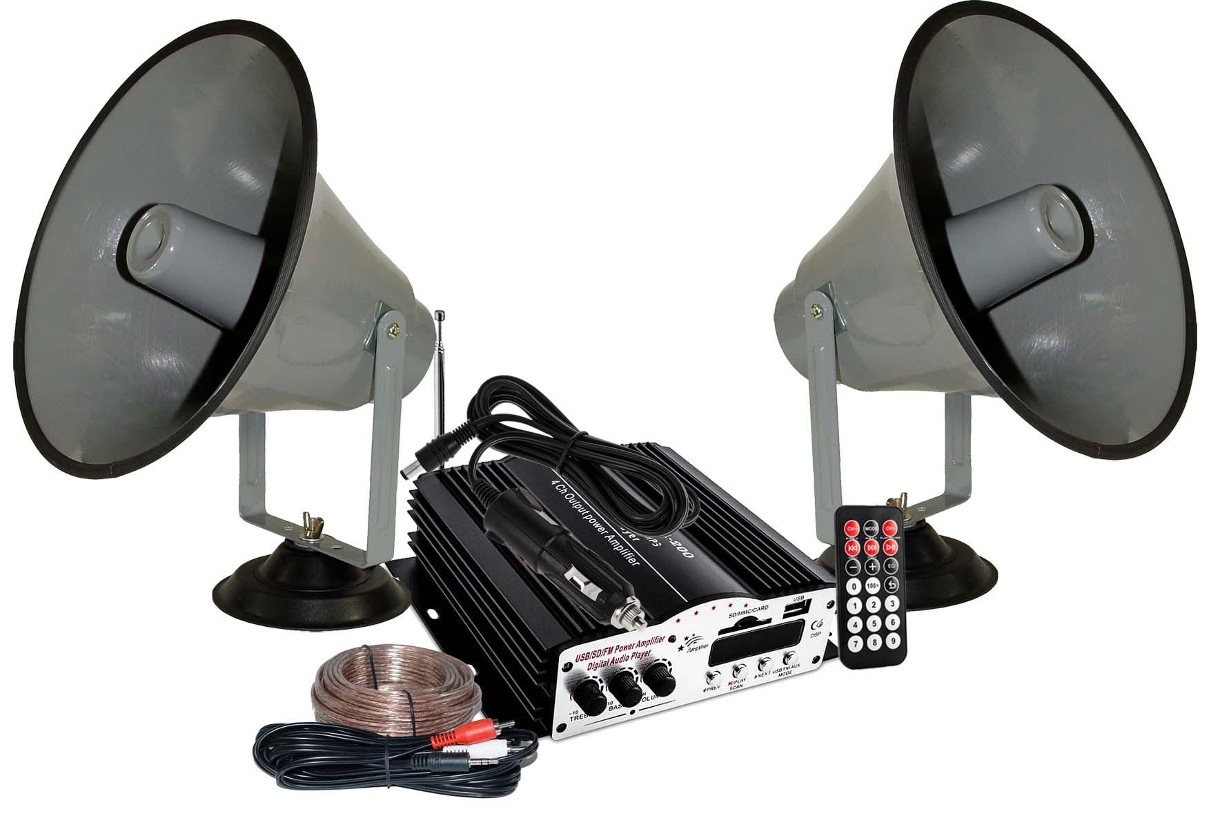 zestaw nagłosnieniowy na samochód z dwoma megafonami na magnetycznej podstawie