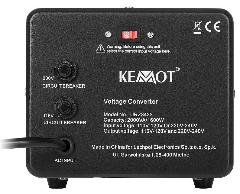 transformator napięcia KEMOT 2000 W / 1600 VA URZ3423