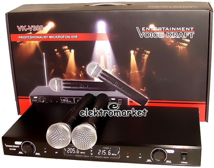 dwa mikrofony bezprzewodowe Voice Kraft VK-380 z pudełkiem