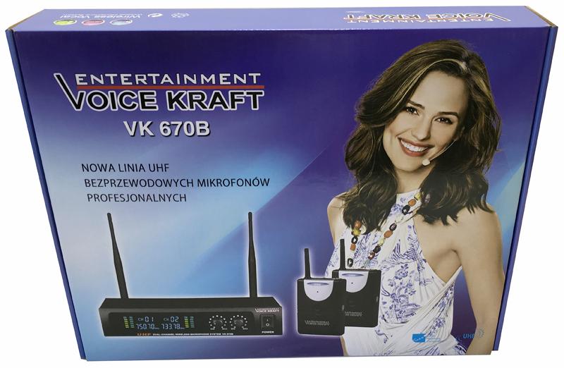 zestaw mikrofonów bezprzewodowych nagłownych dwukanałowy VK 670B pudełko - box