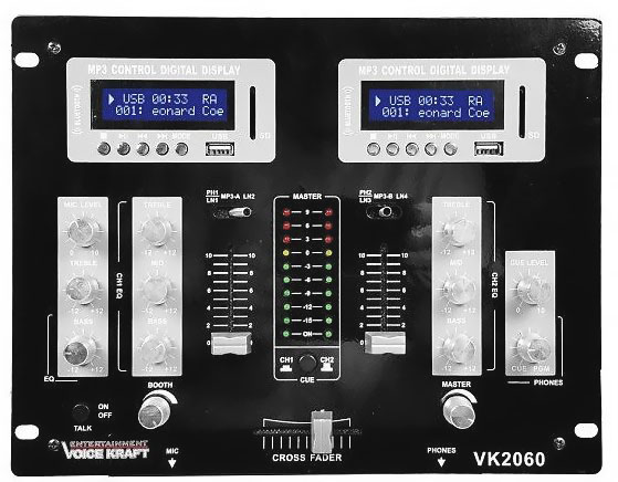 Mikser VK2060BT 2 x USB, BT, LCD Voice Kraft front