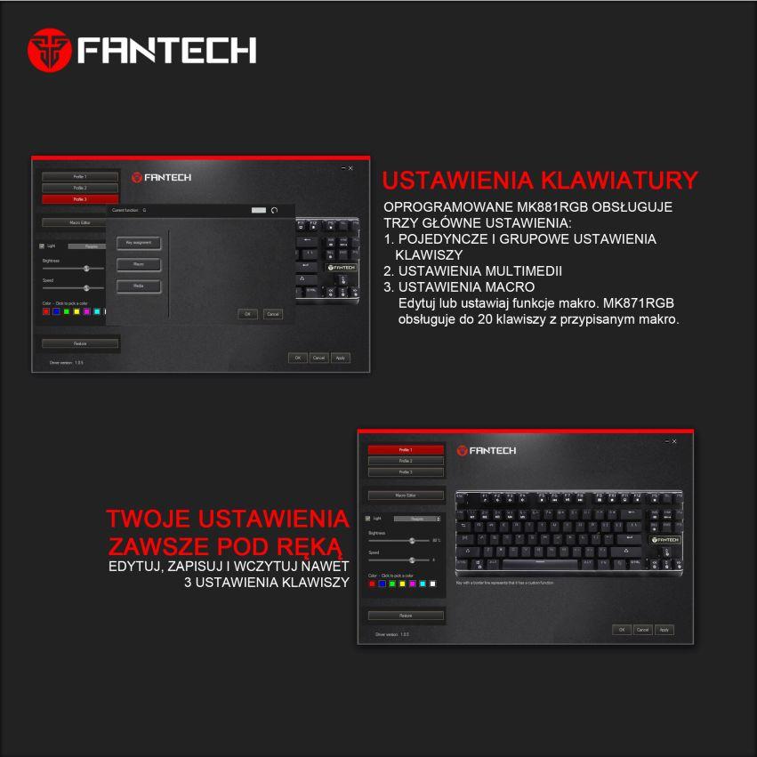 klawiatura mechaniczna Fantech MK871 macro