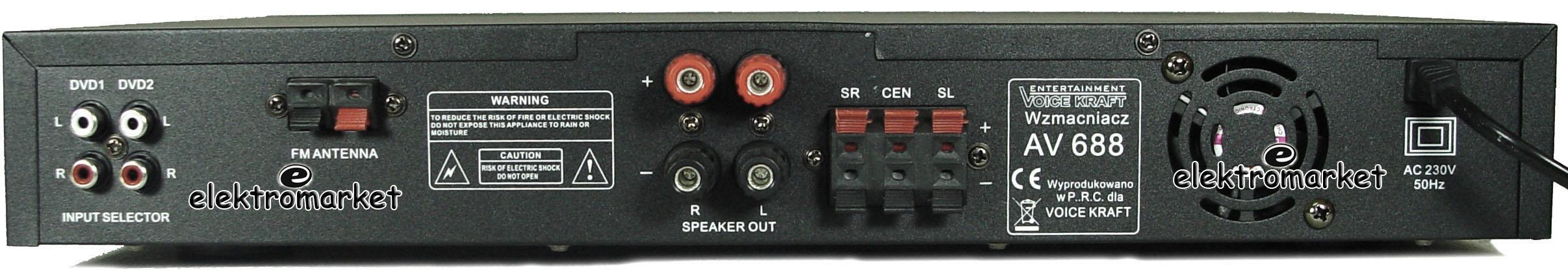 Amplituner AV-688 tylny panel