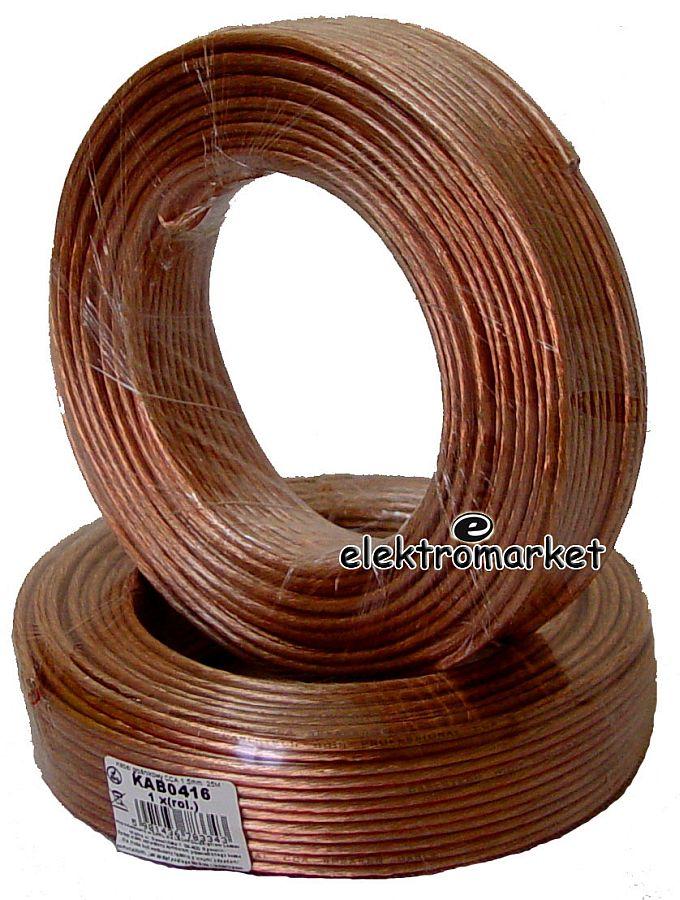 kabel głośnikowy KAB0416 CCA 2x1,5mm rolka 25m