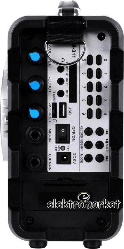 przenośny zestaw głośnikowy KOM0836 regulacje - widok z boku