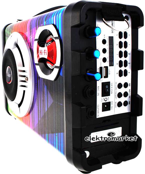 zestaw głośnikowy Quer z MP3, Bluetooth, radio FM i Karaoke KOM0836 panel boczny
