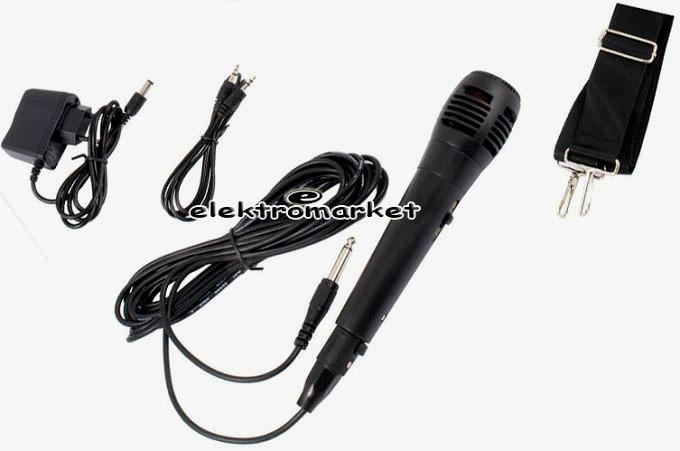 zestaw głośnikowy Quer z MP3, Bluetooth, radio FM i Karaoke KOM0836 - akcesoria