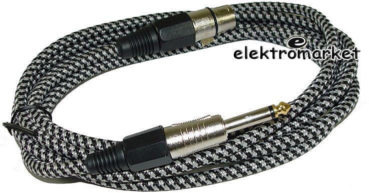 kabel mikrofonowy 3m KPO2757 bawełniany oplot