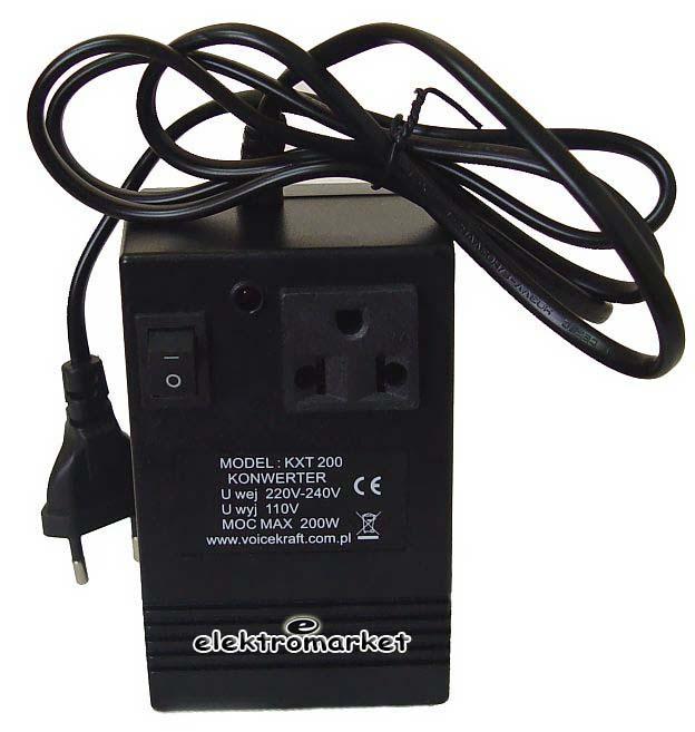 konwerter napięcia do sprzętu z USA 200W transformator do sprzętu z USA 200W 230V 110V