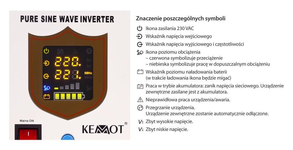 wyświetlacz LED przetwornicy Kemot Pro Sinus 300