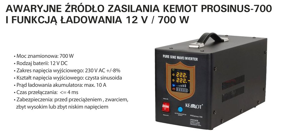 Przetwornica - awaryjne źródło zasilania URZ3406 Prosinus 700
