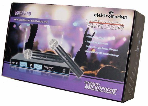 Zestaw 2 mikrofonów bezprzewodowych Voice Kraft VK350 - pudełko - box