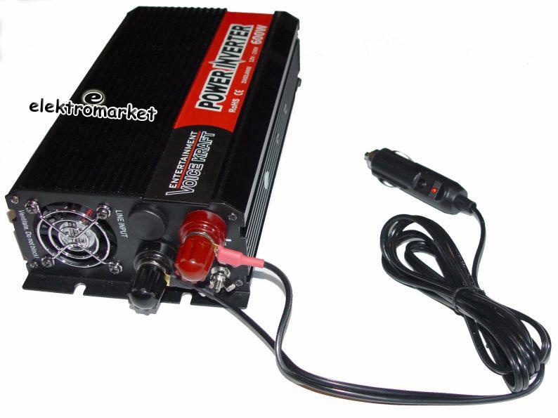 przetwornica z 12V na 230V 600W z kablem do zapalniczki