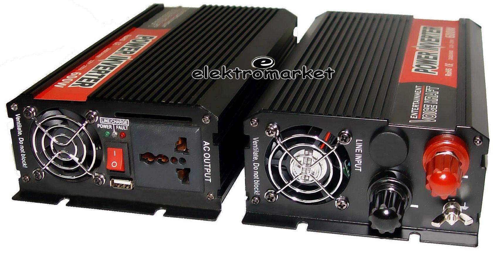 2 przetwornice z 12V na 230V 1200W max Voice Kraft PROMOCJA