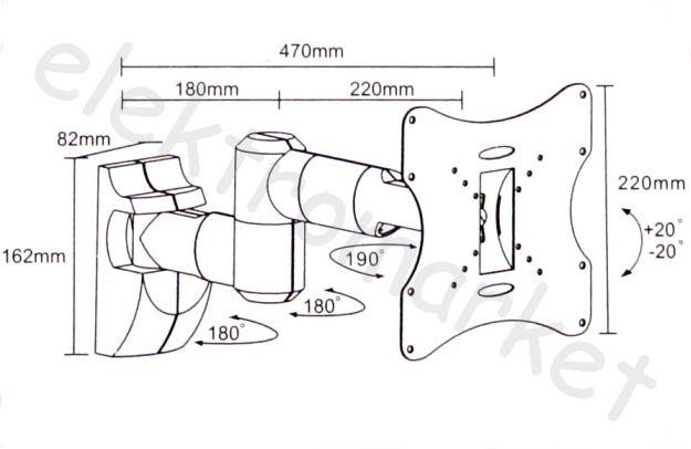 Uchwyt ścienny wysięgnik UCH0043 - rozmiary