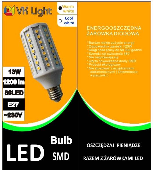 żarówka 86LED 13W VK Light pudełko