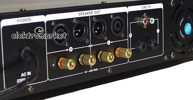 Wzmacniacz DIXON MA240 zbliżenie panel tył