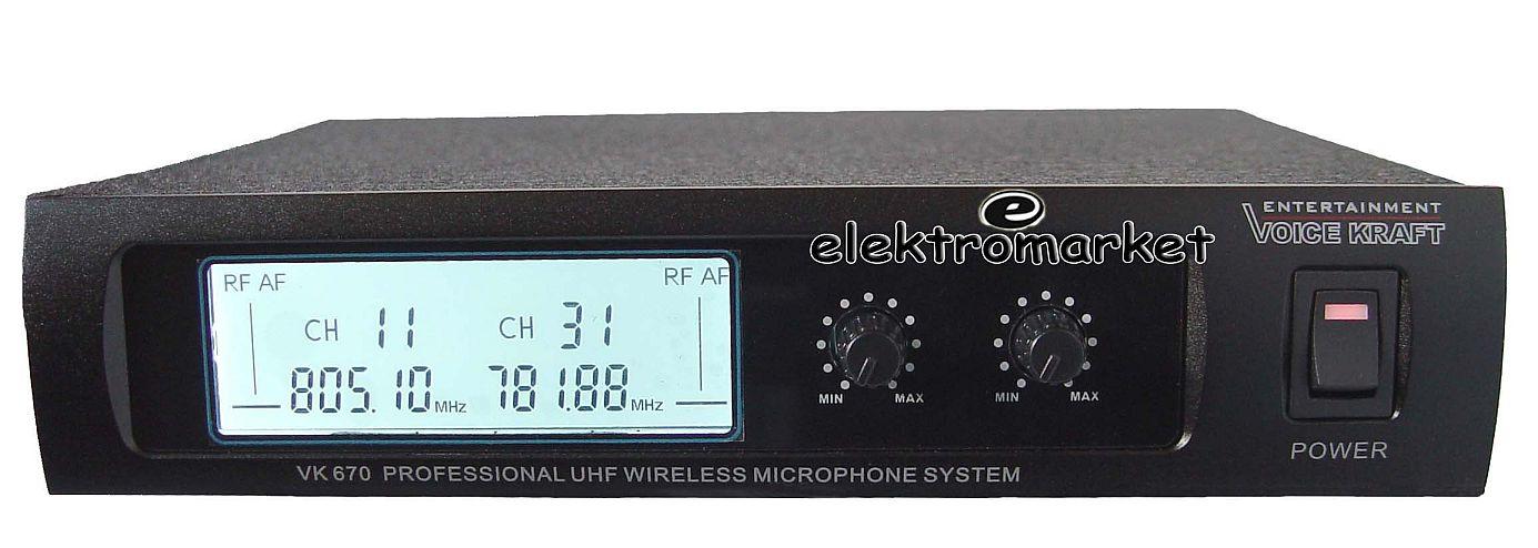 mikrofon bezprzewodowy podwójny do ręki VK-670 baza - odbiornik