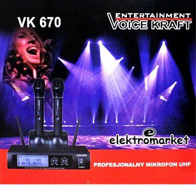 komplet mikrofonów bezprzewodowych do ręki VK-670 w firmowym kartonie