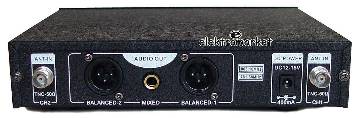 komplet mikrofonów bezprzewodowych do ręki VK-670 widok stacji bazowej z tyłu